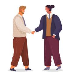 two businessman handshake good deal concept of vector image