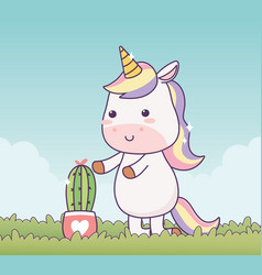Unicorn with potted cactus cartoon character vector