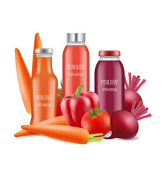 vegetables juices realistic vector image