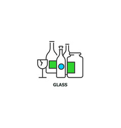 Waste glass recycle concept icon in line design vector