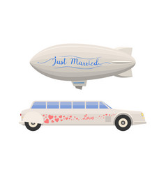 Wedding limousine and airship transport vector