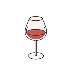 wineglass with red wine cartoon sketch icon vector image