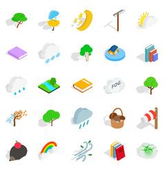 woodland icons set isometric style vector image