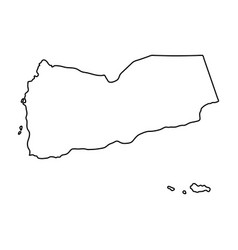 yemen map of black contour curves on white vector image