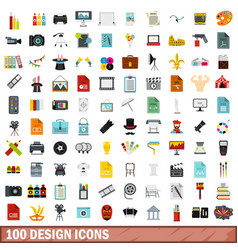 100 design icons set flat style vector image vector image