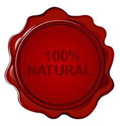100 NATURAL wax seal vector image