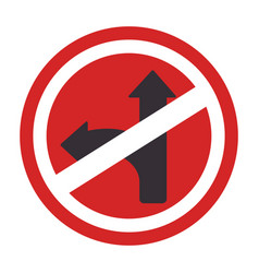 circular contour road sign prohibited turn right vector image
