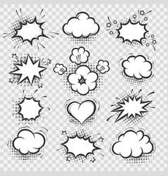 comic speech bubbles on transparent background vector image vector image