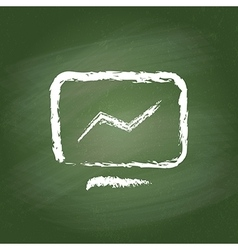 Computer icon on green chalkboard Realistic vector image