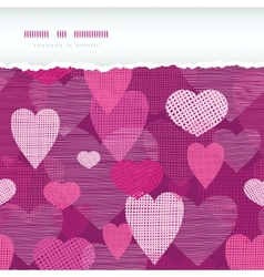 Fabric hearts romantic torn horizontal seamless vector image vector image