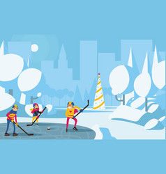 happy family playing hockey in park in the city vector image