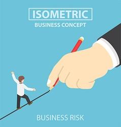 Isometric businessman walking on drawn line vector image