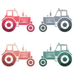 multicolor tractor icon set vector image vector image