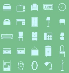 Bedroom color icons on green background vector
