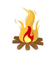 burning fire isolated on white vector image