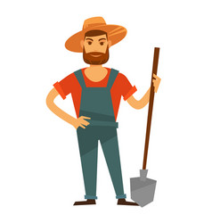 farmer man with spade in hat farm vector image vector image