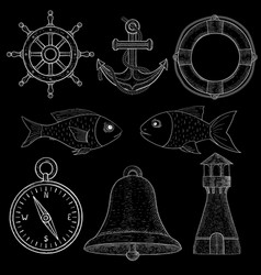 nautical symbols white chalk on blackboard vector image