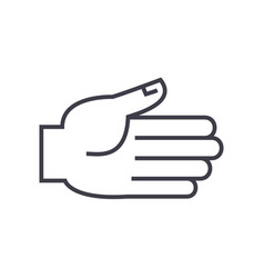open hand line icon sign o vector image
