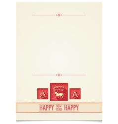 Vintage Template for New Year greetings vector image