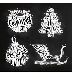 Christmas silhouettes beard chalk vector image vector image
