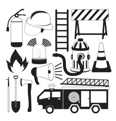 Firefighting Tools Icon Set vector image vector image