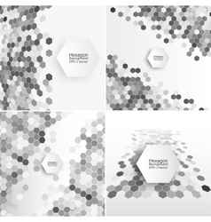 Geometric backgrounds set abstract hexagonal vector image vector image