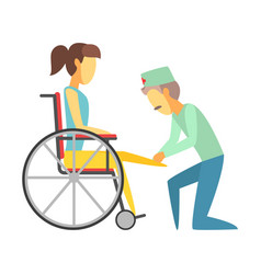 Male doctor helping woman sitting on wheelchair vector