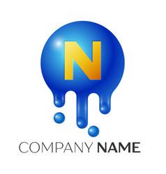 n letter splash logo blue dots and bubbles letter vector image vector image