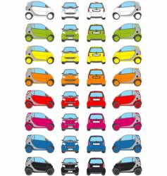 colour little car icons vector image