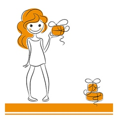 Fashion girl with gifts vector image vector image