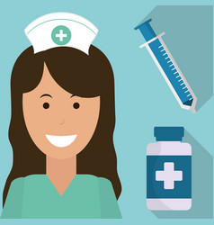 nurse medical syringe medicine bottle vector image vector image