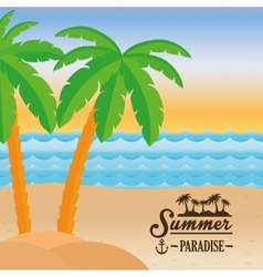 poster summer paradise beach sea palm tree design vector image