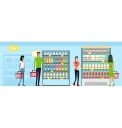 Shopping in Supermarket in Flat Design vector image