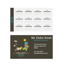 2016 calendar Modern business card template with vector image