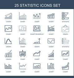 25 statistic icons vector image
