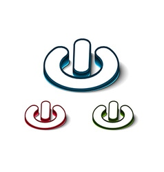 3d glossy power on or off button icon vector image