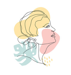 abstract trendy one line drawing woman with vector image