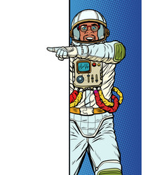 african man astronaut point to copy space poster vector image