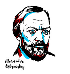 Alexander ostrovsky portrait vector