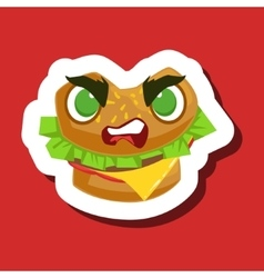 Angry Burger Sandwich Cute Emoji Sticker On Red vector