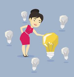 Asian businesswoman having business idea vector
