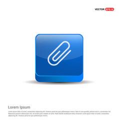 Attach paper clip icon - 3d blue button vector