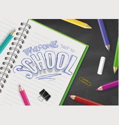 Back to school top view design hand vector