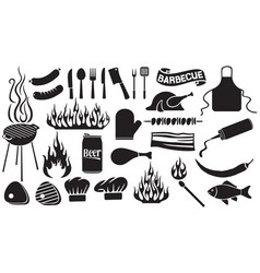 Barbecue and food icons set vector