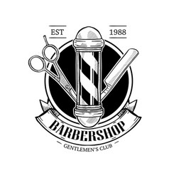Barbershop logo with scissor vector