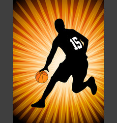 Basketball player on the abstract orange backgroud vector