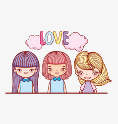 Beauty girls hairstyle with clouds and love vector
