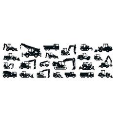 Big black-white set construction equipment vector