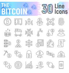 Bitcoin thin line icon set cryptocurrency symbols vector