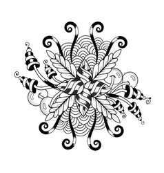 black and white symmetrical circular pattern in vector image